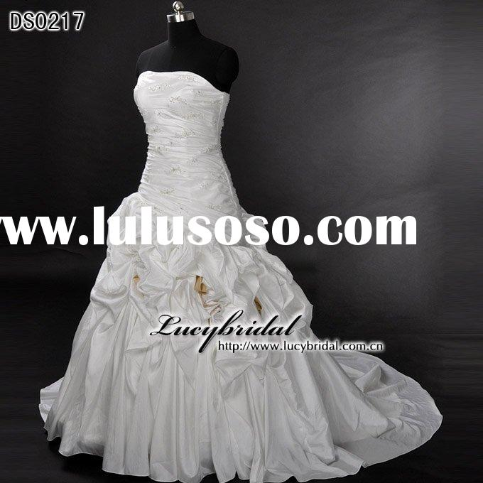 popular taffeta beaded lace-up back bridal wedding dress DS0217