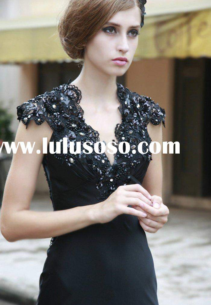 spandex satin lace beaded  real evening gown black RS116