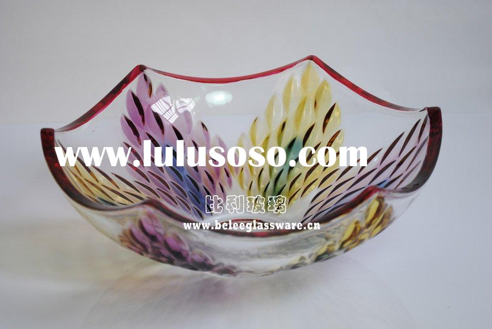 Holding fruits crystal glass home decor
