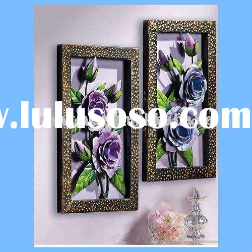 Violet Floral Metal Wall Art Decor