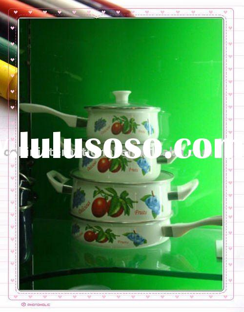 4 pcs porcelain enamel cookware sets with handle