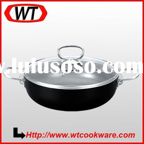 Aluminum frypan with stainless steel double ear and knob