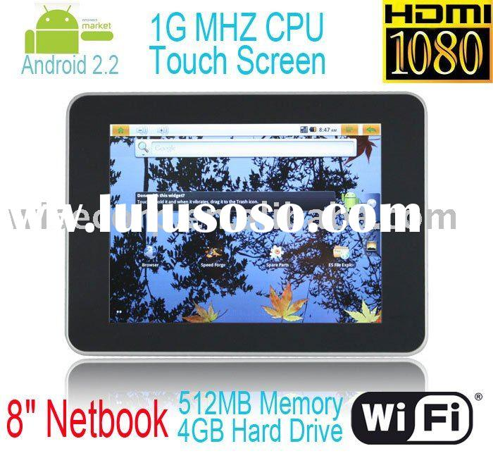 """Android 2.2 Market 8"""" 512MB RAM 4GB HDD Wifi HDMI 1080P 1Ghz CPU MSN Skype"""