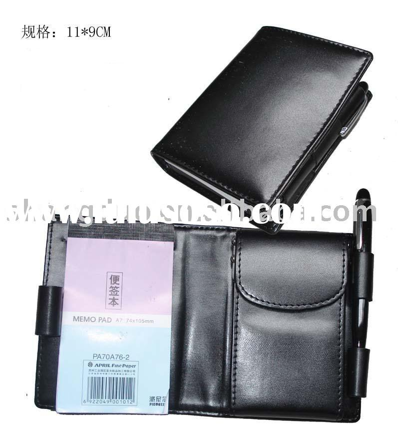 Leather Memo Pad Jotter w Card holder w Pen