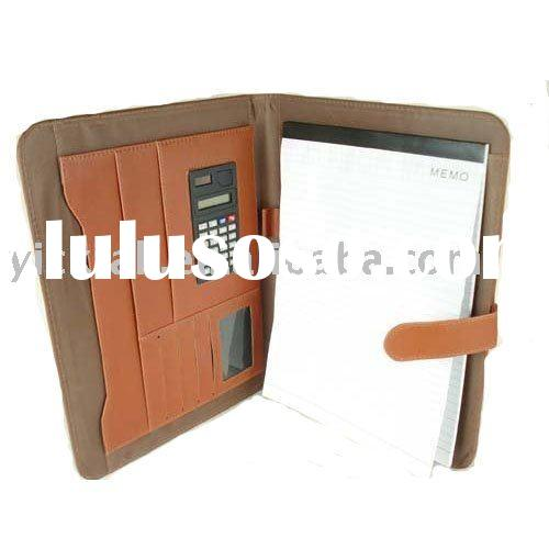 Portfolio with memo pad and calculator