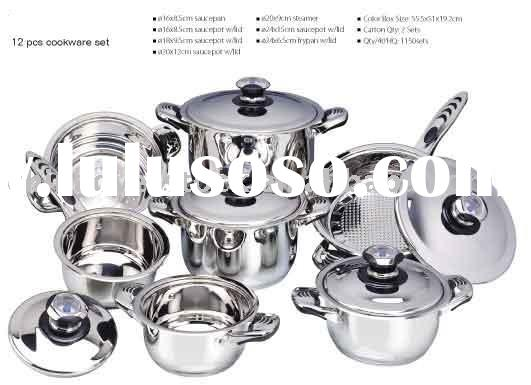 Stocklot/Stock lots 12 pieces stainless steel cookware set