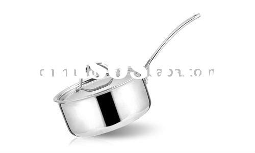 Tri-ply stainless steel nonstick frying pan with glass lid