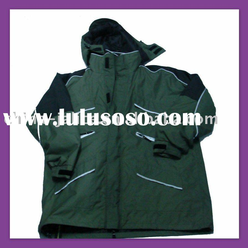 Waterproof Men Winter Camping Clothing with Draw string at Hem to Adjust the Length to Stop Wind---N