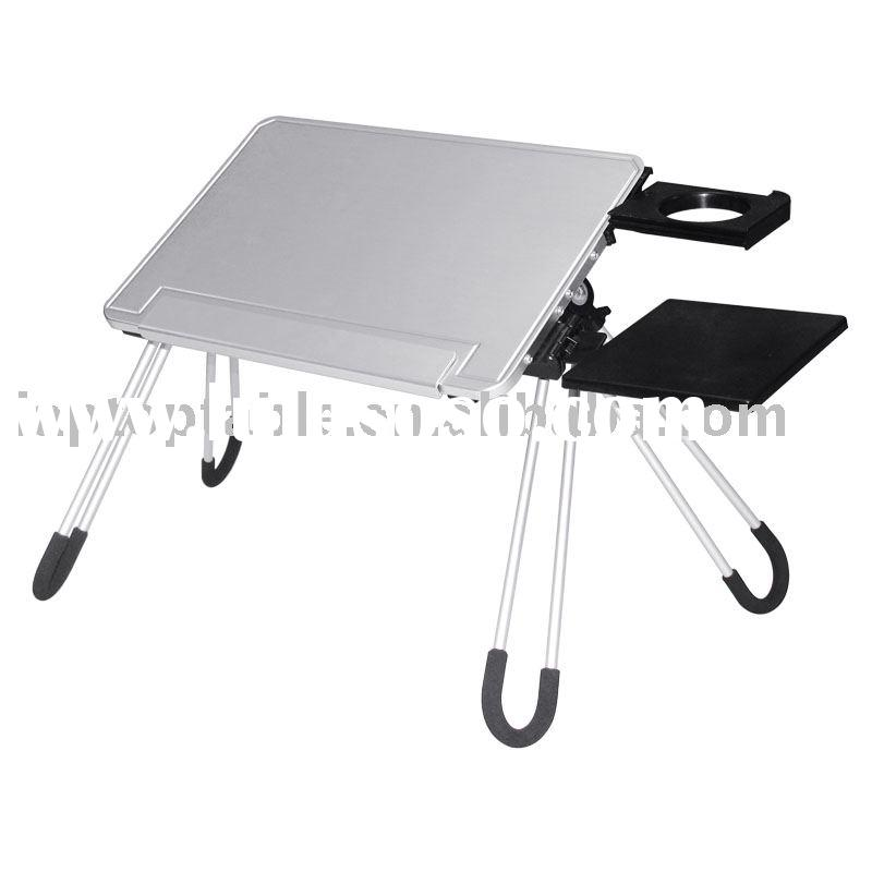 folding laptop table with mouse pad and cup holder