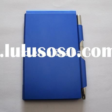 metal aluminum memo pad with pen