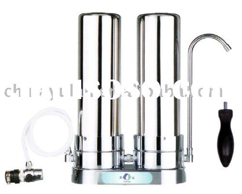 DUAL-STAGE TABLE -TOP STAINLESS STEEL WATER FILTER SYSTEM