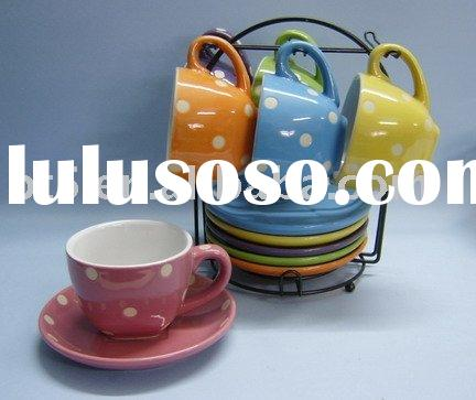 13pcs Colorful Ceramic Cup & Saucer