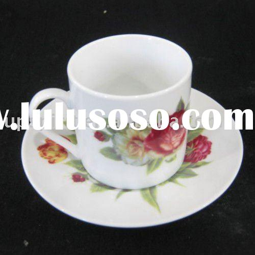 150ml  flower decal Porcelain tea cup saucer