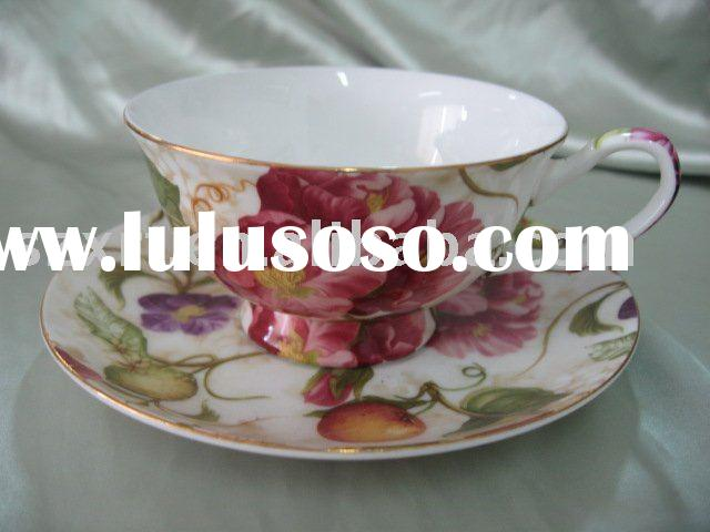 180 cc porcelain cup & saucer with rose decal