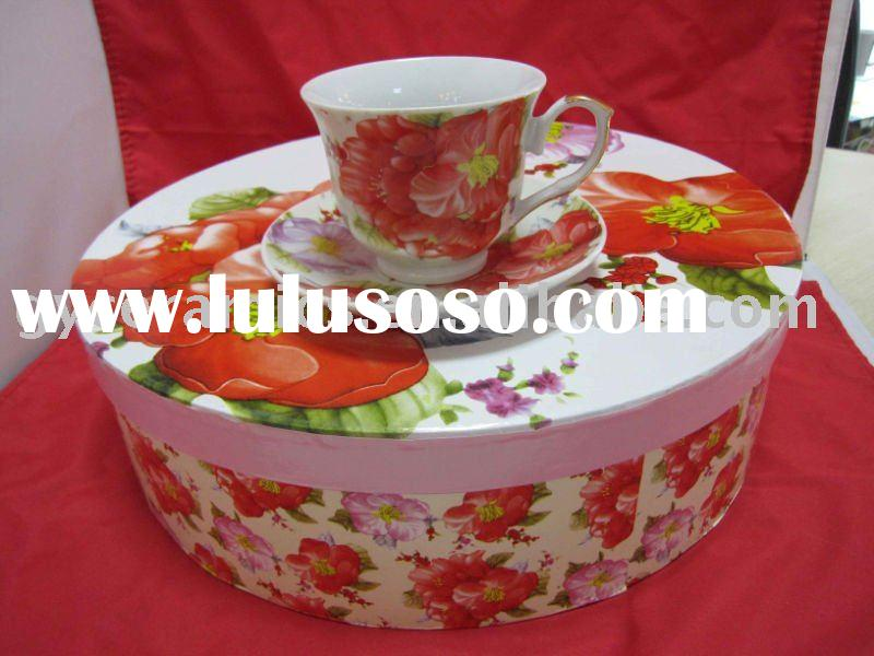 220cc Ceramic Coffee Cup and Saucer with Metal Stand