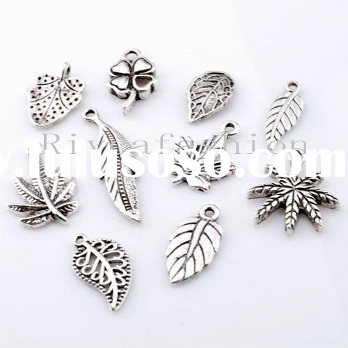 Best selling 2011 newest 10-33mm Antique silver jewelry finding mix fashion leaf charm pendant