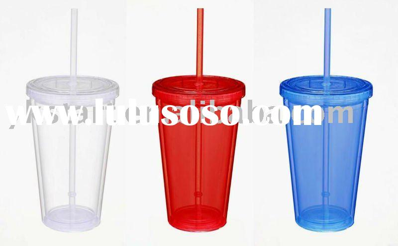 Double wall plastic cup with straw and lid