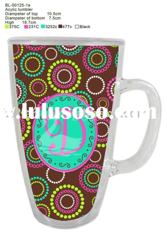 Double walled plastic mug with paper insert