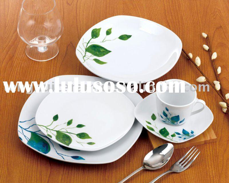 Fine porcelain china dinner set with green leaf design