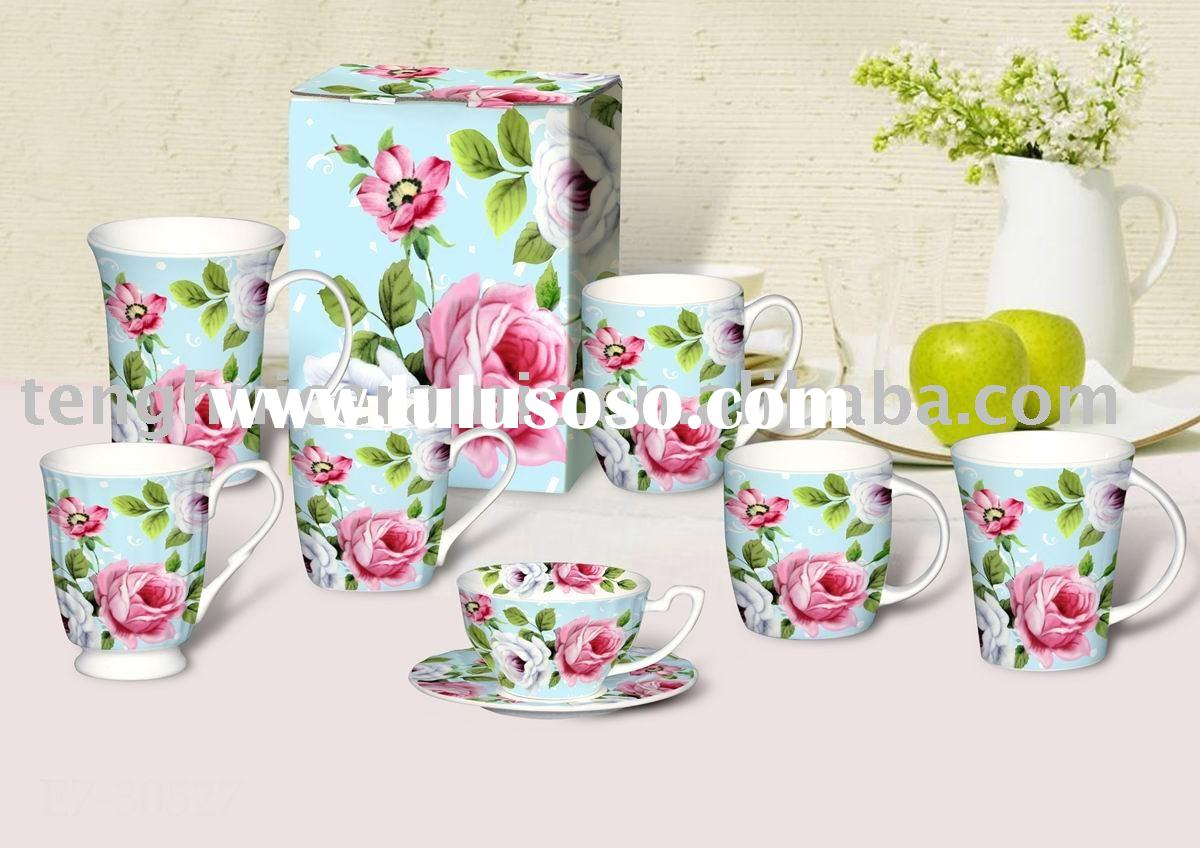 Pink rose porcelain coffee mug and tea set