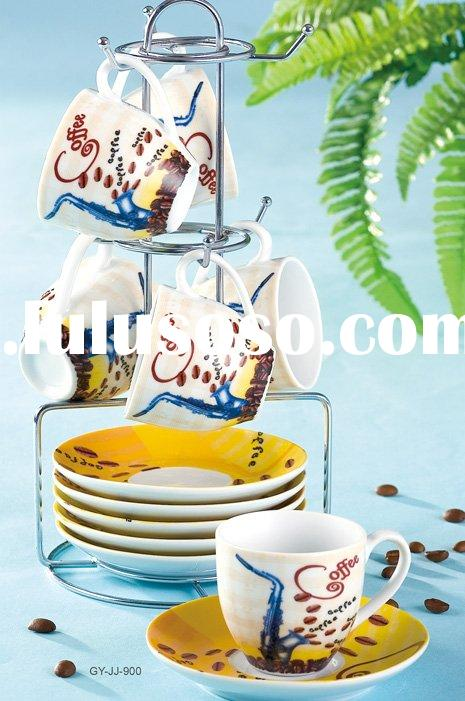 S/6 90cc coffee cup and saucer with metal stand in color box
