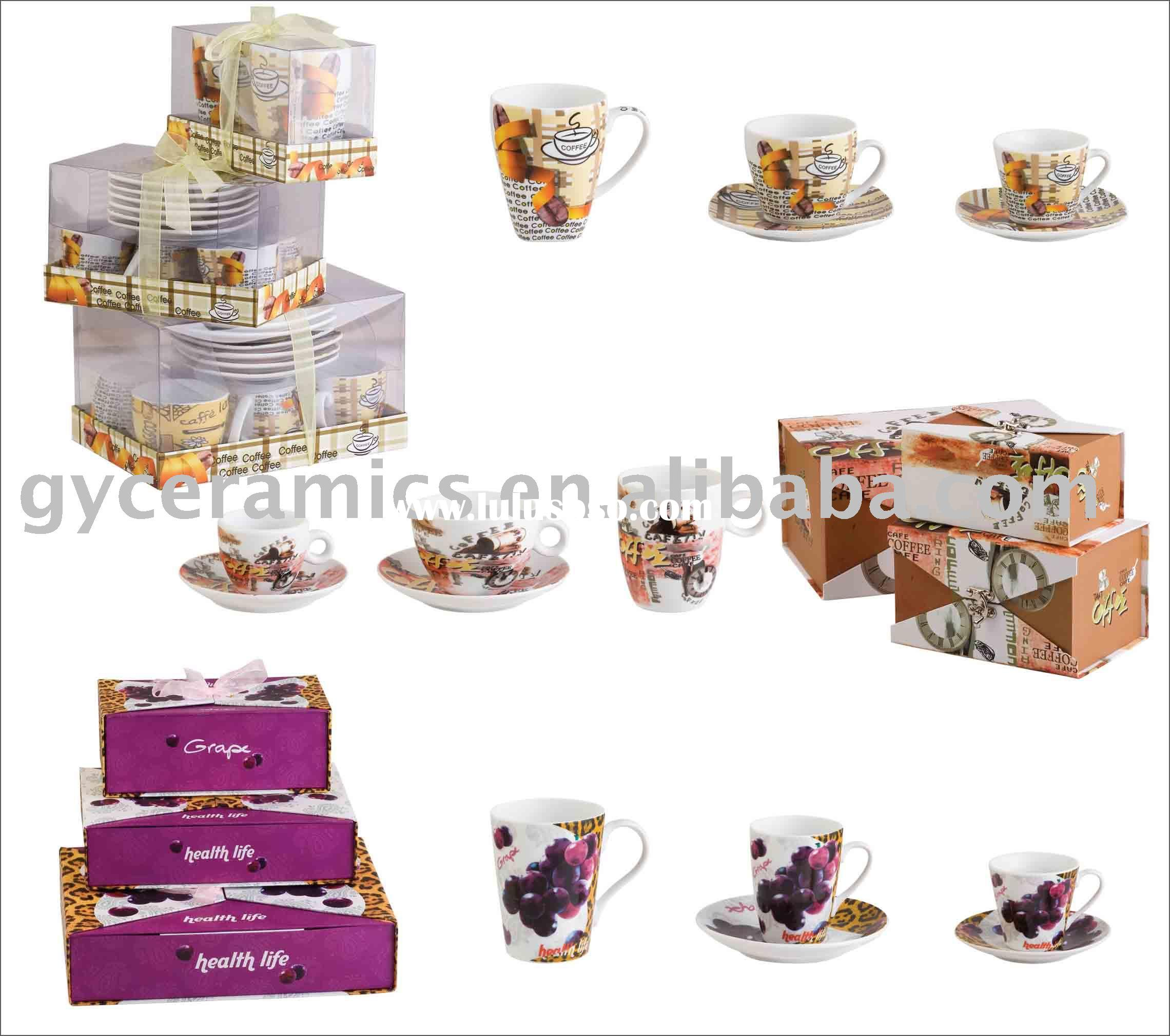 S/6 coffee/tea cup and saucer, S/2 mugs in (PVC/ lock ) gift box
