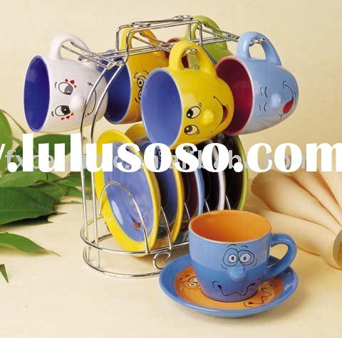 Stoneware funny face coffee set with wire stand ( ceramic coffee/tea set cup & saucer)