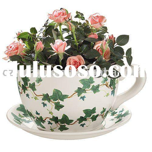 ceramic giant cup & saucer  planter