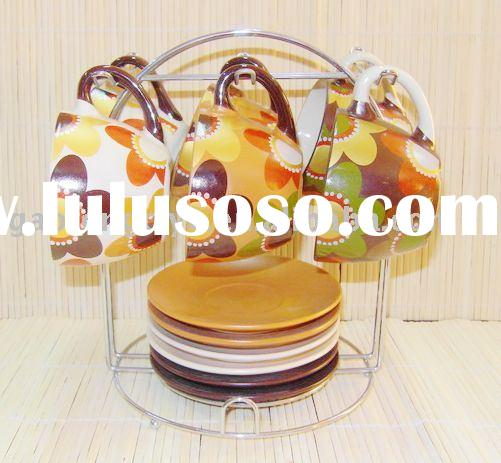 coffee cup, stoneware cup&saucer,cup&saucer with stand