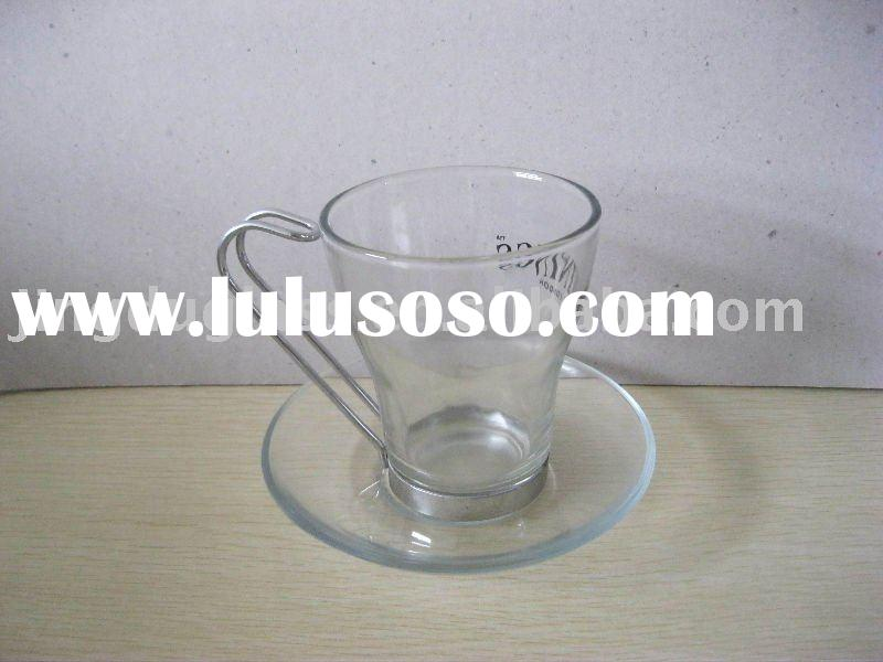 glass coffee cup with saucer/promotion gift