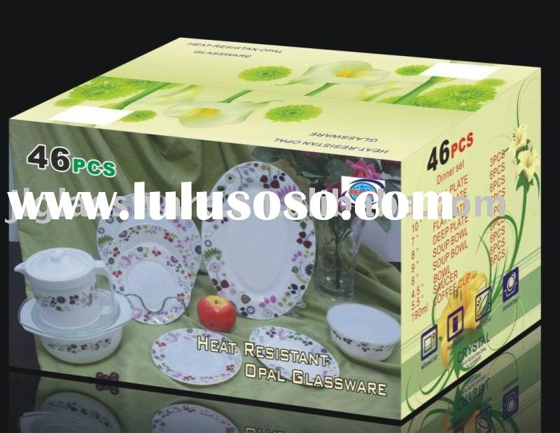 opal glass 46pcs dinnerware sets
