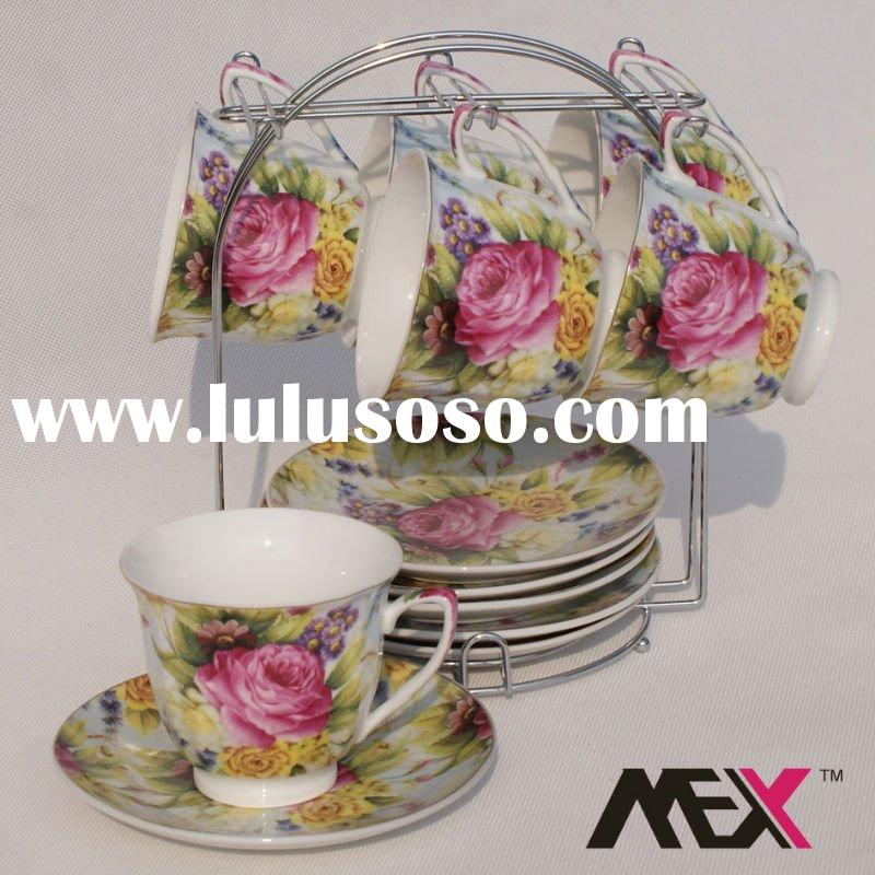 tea cup saucer with metal stand