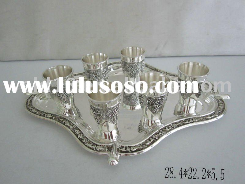 zinc alloy silver plated wine cups and saucer