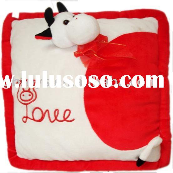 plush pillow, stuffed pillow, plush cushion, valentine's day cow design pillow, Christmas, E