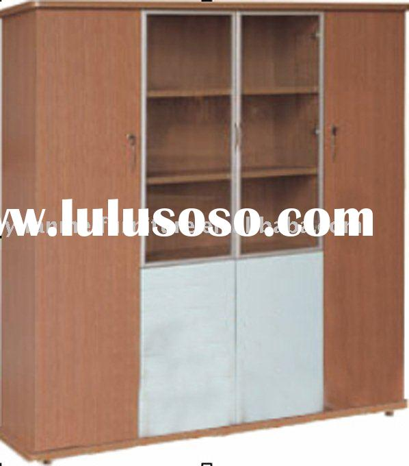 High Quality Wooden Red Oak Filing Cabinet W/ Glass Door