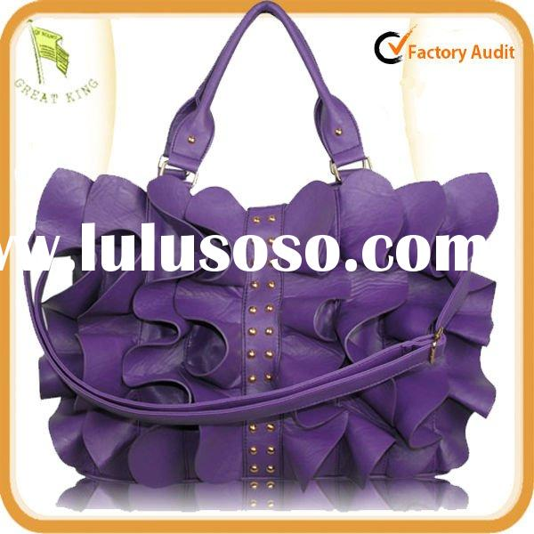 Ruffle Purple Tote Bag With Acrylic Stone Accent