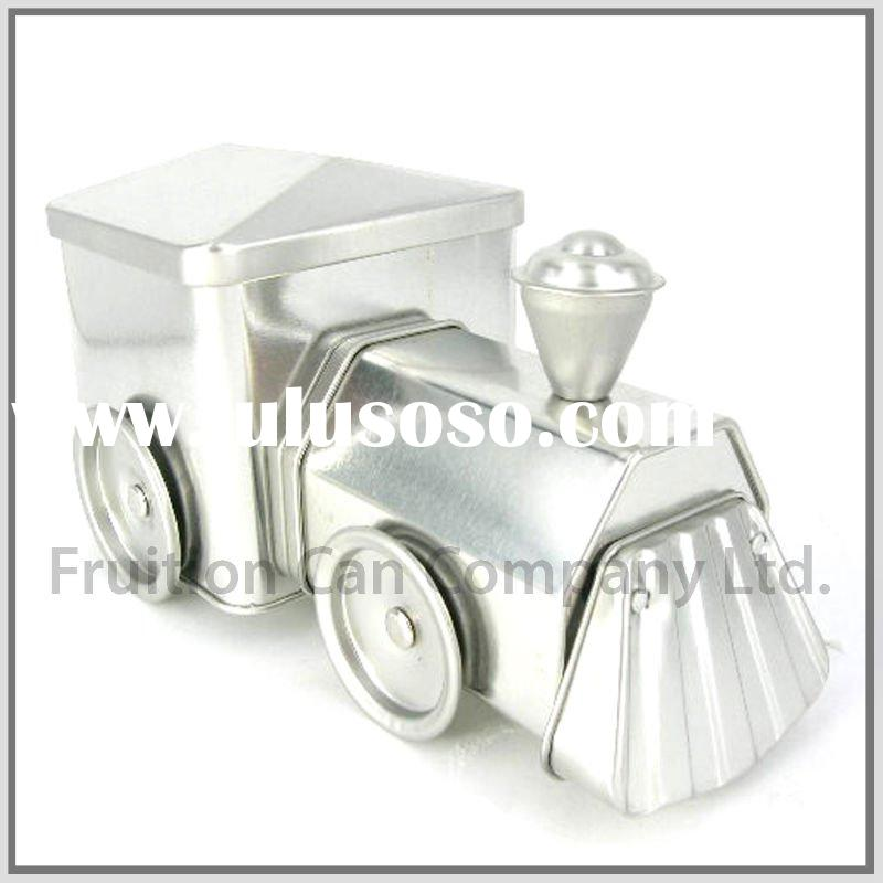 Train Shaped Metal Box with Moving Wheels