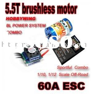 eZrun RC 1:10:12 CAR 5.5 T brushless motor + 60A ESC 3in1+Program Card
