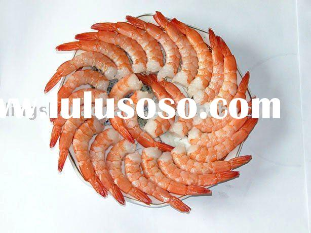 Frozen Cooked Peeled and Deveined Tail-on White Shrimp