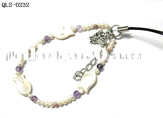 fish shape pearl cell phone strap mobile phone chain