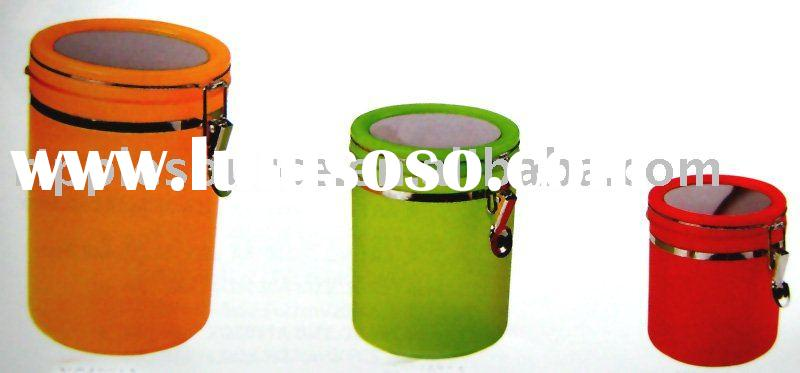frosted air-tight canister with stainless steel lid tableware snack can food container
