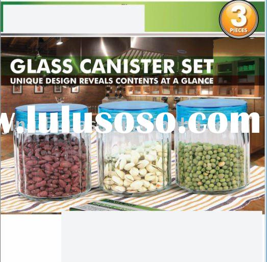 glass food container set with colored plastic lid