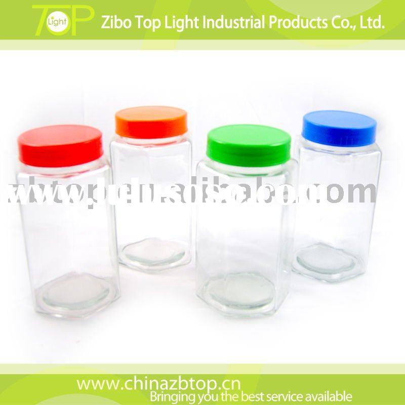 glass food container with color lid