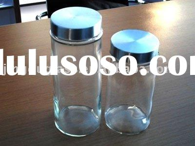 glass food container with stainless steel lid/glassware