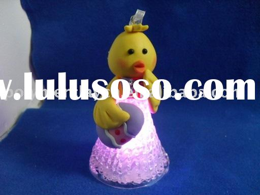 hot-selling polymer clay chick craft/ornament with LED inside is widely used on Easter as a gift for