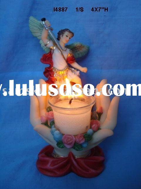 reisn religious crafts st. michael candle holder