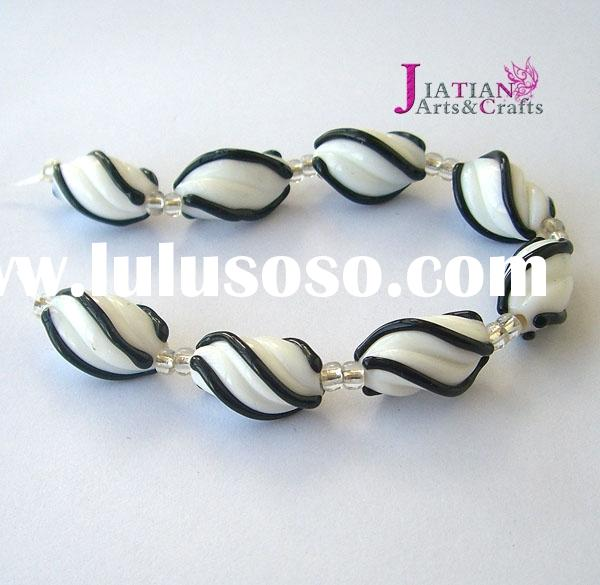 10x18mm lampwork glass coil beads--black/white