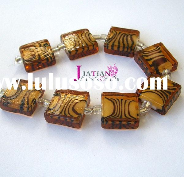 16x16mm lampwork glass square beads--topaz