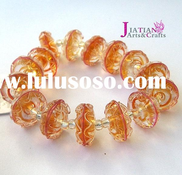 7x14mm glass saturn beads--topaz