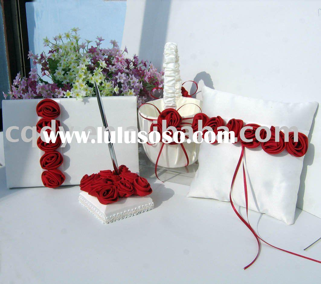 A Red Red Red Rose Wedding Decoration/wedding guest book/ wedding guest pen /wedding pen holder